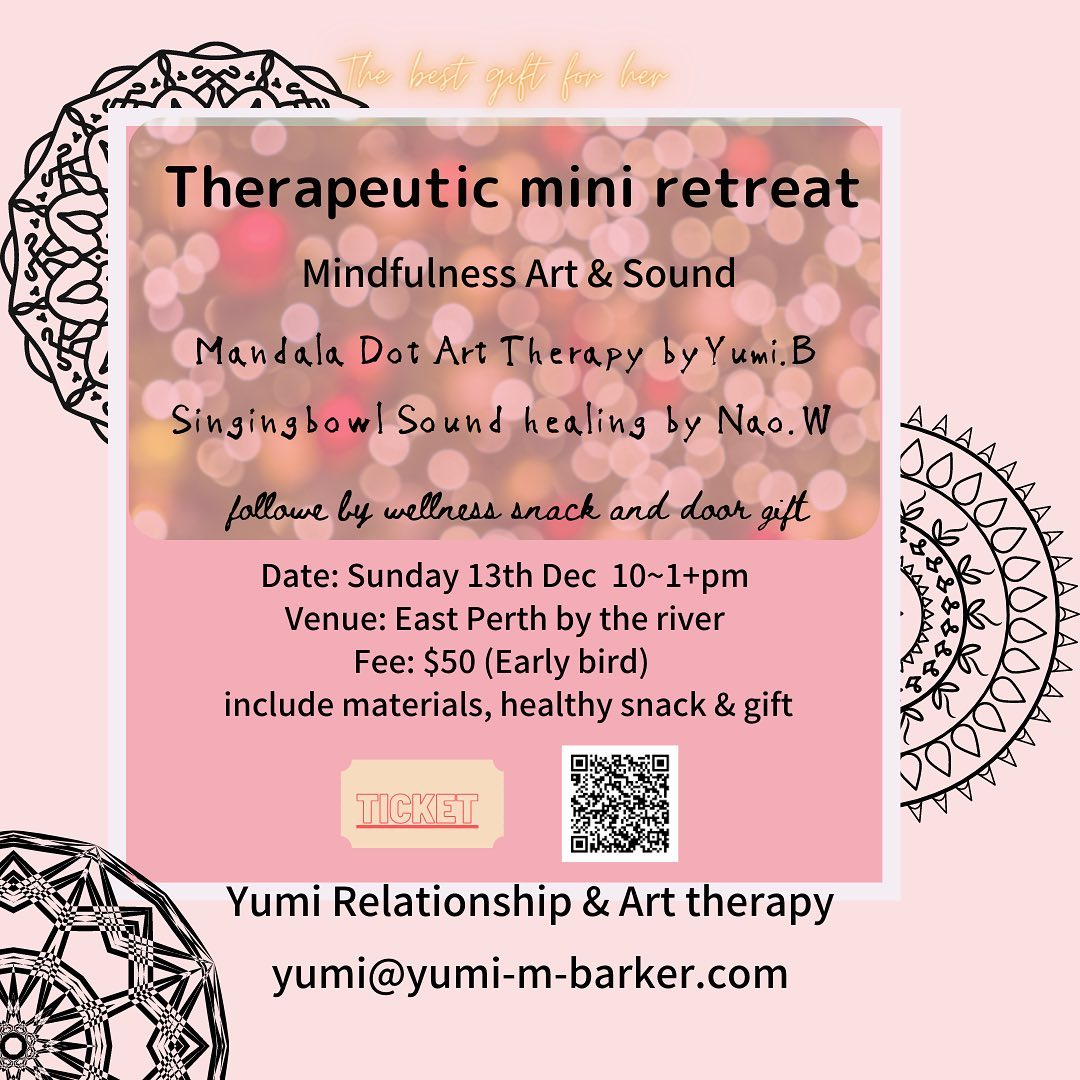Do you know any Japanese ladies who are a little stressed?We will hold a Mindfulness Art and Sound Therapeutic Retreat in East Perth on 13thDecember.It will be Mandala dot art therapy followed by Tibetan singing bowl sound therapy. Also, Wellness healthy grazing snacks will be served plus, guests will take home a secret gift bag.Only Japanese speaking ladies can participate since we will guide meditation in Japanese.So - if you know someone special and she is Japanese, it would be a great gift for her.Please PM me if you are interested to make this gift, otherwise, if you could share or send this info to any Japanese lady (over18 or mum & daughter over 13), it would be much appreciated.#パース#Japaneseinperth #giftidea #japanesewife #japanesegirfriend#retreat#relaxdetoxday #perthlife #perthjapanese #christmasgiftidea #mandala#arttherapy #soundtherapy #wellness #mindfulness #therapeutic#perth (Instagram)